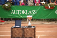 Tennis cup. Sibiu, Romania - August 12, 20012: BRD Sibiu Challenger 2012. The final ceremony and cup prize for the winner stock images