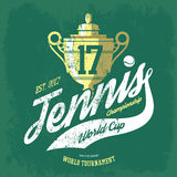 Tennis cup or trophy and flying ball banner Royalty Free Stock Photo