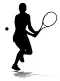 Tennis della donna della siluetta Fotografie Stock