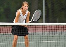 Tennis della High School delle ragazze Immagini Stock