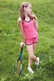 tennis della racchetta della ragazza Immagini Stock Libere da Diritti