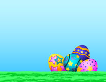 Tennis Easter Eggs in Grass Stock Images