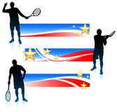 Tennis ed insieme dell'insegna degli Stati Uniti Fotografie Stock
