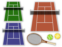 Tennis elements collection. Vector illustration of some tennis elements, including tennis courts, balls and racket Stock Image