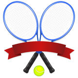 Tennis Emblem. An illustration of a two tennis racquets and ball behind a banner left intentionally blank for easy customization Stock Photography