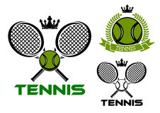 Tennis emblems with balls, rackets and crowns Stock Image