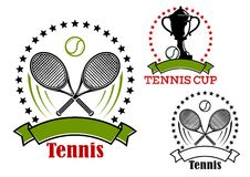 Tennis emblems with balls, rackets and cup Royalty Free Stock Image