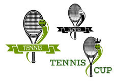 Tennis emblems with rackets and ribbons Royalty Free Stock Photos