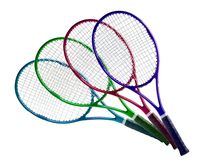 Tennis equipment: colorful rackets isolated on white Stock Image