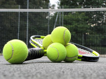 Tennis equipment on the court Royalty Free Stock Photo
