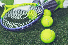 Tennis equipment Stock Photography
