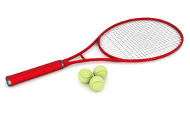 Tennis equipment. On a white background Royalty Free Stock Photos