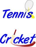 Tennis et cricket des textes Image libre de droits