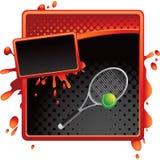 tennis för racket för annonsboll grungy rastrerad Royaltyfri Fotografi