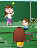 Tennis Family. This is a vector illustration of a family playing tennis together Stock Image