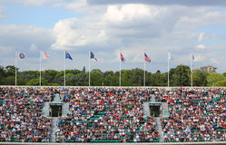 Tennis fans at the Court Philippe Chatrier at Le Stade Roland Garros during Roland Garros 2015. PARIS, FRANCE- MAY 27, 2015: Tennis fans at the Court Philippe Royalty Free Stock Photo
