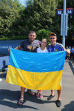 Tennis fans from Ukraine at US Open 2014 at Billie Jean King National Tennis Center Stock Images
