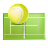 Tennis field and ball Royalty Free Stock Image