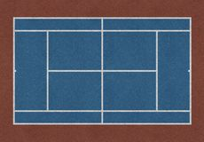 Tennis field blue brown. Tennis field. Tennis blue court. Top view. Isolated Royalty Free Stock Images