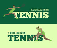 Tennis figure peoples with tennis racket set. Vector illustration Stock Photography
