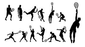 Tennis figure peoples with tennis racket set. Stock Image