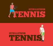 Tennis figure peoples with tennis racket set. Vector illustration Royalty Free Stock Photos