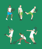 Tennis figure peoples with tennis racket set. Vector illustration Stock Photos