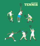 Tennis figure peoples with tennis racket set. Vector illustration Stock Photo