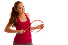 Tennis  - fit woman with racket isolated over white background Stock Photos