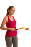Tennis  - fit woman with racket isolated over white background Royalty Free Stock Photos