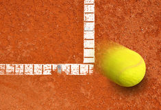 Tennis game. Tennis ball on a tennis clay court Stock Photography