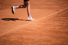Tennis game on clay court Royalty Free Stock Photography