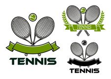 Tennis game emblems with rackets and balls Stock Images