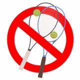 Tennis game forbidden sign Stock Image