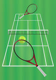 Tennis game on the grass court. Vector eps format 10 is available Stock Photos