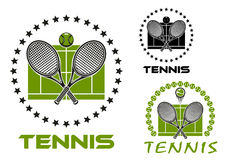Tennis game sports emblems and icons Stock Image