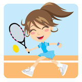 Tennis Girl. Pretty young brunette girl playing tennis actively Royalty Free Stock Photography