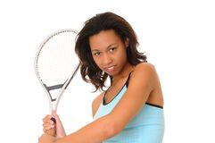 Tennis Girl. Lovely african american girl with tennis racket royalty free stock photo