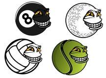 Tennis, Golf, Volleyball, Billardkarikaturbälle Stockfoto