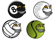 Tennis, golf, volleyball, billiard cartoon balls Stock Photo