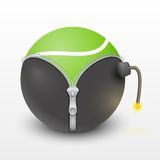 Tennis green ball inside a burning bomb  Royalty Free Stock Image