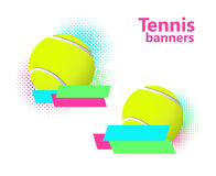Tennis halftone vector banners Royalty Free Stock Image