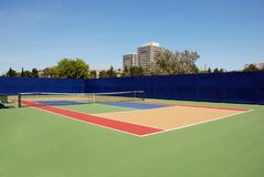 Tennis hard court. Tennis open empty court - hard surface Royalty Free Stock Image