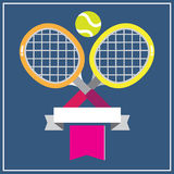 TENNIS ON HARD COURT. 2 colorful tennis racquets with the green tennis ball decorated with banner on blue background Stock Image