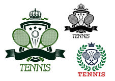 Tennis heraldic emblems on crowned shields Royalty Free Stock Photo