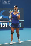 Tennis: Het vieren van een punt royalty-vrije stock foto's