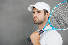 Tennis is his passion. royalty free stock photos