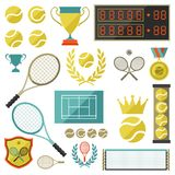 Tennis icon set in flat design style Royalty Free Stock Photo