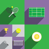 Tennis Icon Set in Flat Style with Rackets, Court Royalty Free Stock Image