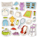 Tennis icon set vector. Tennis icon set tournament patches. Vector tennis icons digital and print projects court fitness equipment. Sport championship Stock Photos